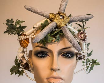 Alternative Wedding Headdress with Sea Shells, Starfish, Pearls and Sea Plants
