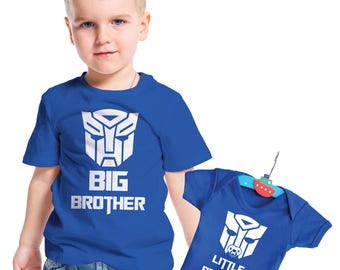 Transformers  inspired Big Brother and Little Brother t-shirt and baby grow set.