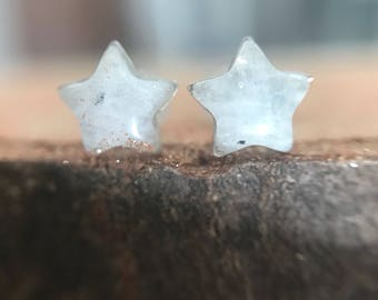 Earrings star Moonstone and sterling silver - Moonstone jewelry