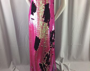 Sequins Fabric 2 Way Stretch Shiny Reversible Mermaid Fuchsia-Black By The Yard