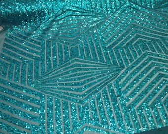 Teal Sequins Fabric - Geometric Diamond Design 2 Way Stretch Mesh By The Yard