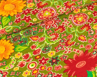 Cotton Jersey colorful flowers on olive (14,00 EUR / meter)