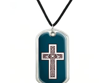 Cross with Heart Christianity Military Dog Tag Pendant Necklace with Cord