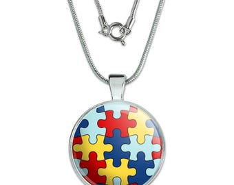 """Autism Awareness Diversity Puzzle Pieces 1"""" Pendant with Sterling Silver Plated Chain"""