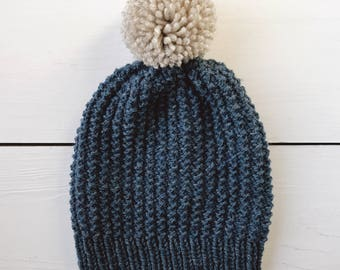 Satu / Hat Hand-Knit Textured Blue Wool Beanie with Gray Pom