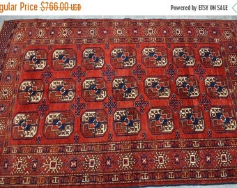 SALE 45% OFF Hand Knotted Vintage Turkoman rare Bukhara Traditional carpet . / 115 x 180 cm