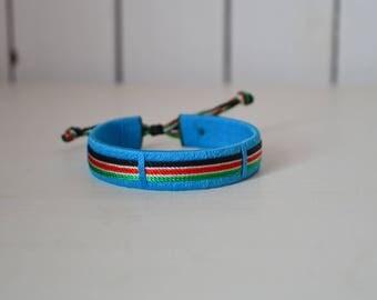 Maasai Beaded Kenyan Flag Bracelet | African bracelet | Light blue Masai bracelet | Drawstring bracelet | Tribal bracelet - One piece