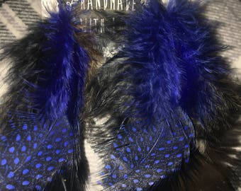 Blue black and brown feather earrings