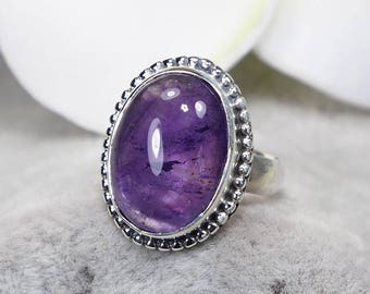 Natural Amethyst 925 Sterling Silver Ring, Genuine Ring, Birthday and holiday Gift, US Size 5 ,J403
