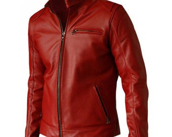 Leather Jacket - Men's Terminator Genisys Jason Clarke Black & Red Leather Biker Jacket