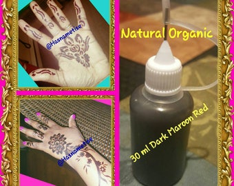 Ready-to-use 100% Natural Dark Red Maroon Henna with Needle tip applicator bottle
