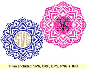 Mandala svg cutting files for cricut silhouette mandala monogram frame svg designs decal Clipart Instant Download cut files eps dxf cut file
