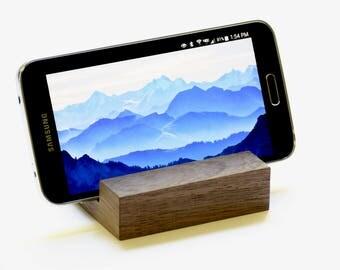 Walnut Wood Phone Stand   Dark Wood Smartphone Holder   Wooden Phone Stand   iPhone and Android Phone Stand   Modern Wood Phone Display