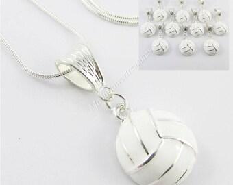 Team Set of 10 White Enamel Netball Charm Pendant 61cm 925 Snake Chain Necklace