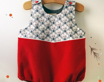 Romper Apple corduroy, fully lined