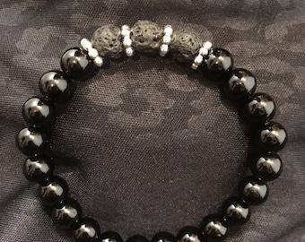 Black Onyx Lava Rock Essential Oil Diffuser Bracelet