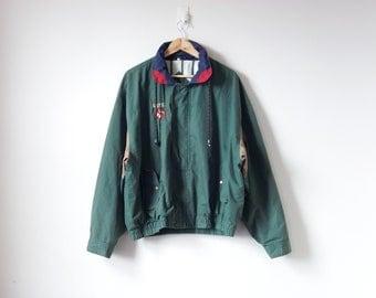 """90s """"O.U.P.S"""" Logo Windbreaker - Green 90s Windbreaker - 90s Logo Jacket - 90s Jacket - Normcore Windbreaker - Green Windbreaker - Men's 2X"""