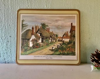 Six National Trust table mats, place mats, English villages, cork backed, boxed