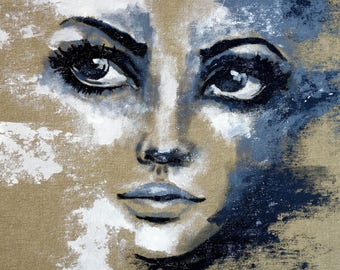 Study Portrait black & white   exclusive gallery art woman face eyes painting original unique modern art figurative