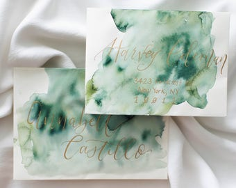 Wedding Envelopes with Watercolor Wash and Calligraphy //  Hand Lettered Envelopes, Calligraphy Envelopes, Watercolor Wedding Envelopes