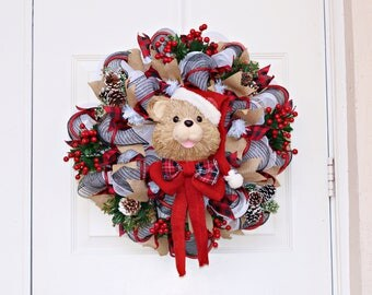 Christmas Deco Mesh Wreath, Rustic Christmas Wreath, Buffalo Plaid and Burlap, Santa Bear Wreath