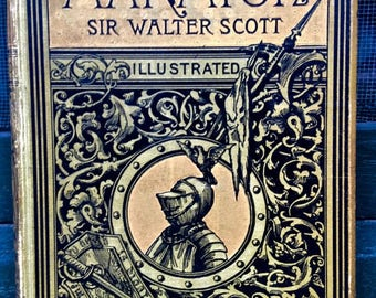 Vintage book Marmion by famed Sir Walter Scott, Illustrated Edition 1885, medieval tale, illustrations throughout & border design every page