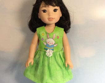 "Sparkling bunny dress fits 14.5"" Wellie Wishers s doll"