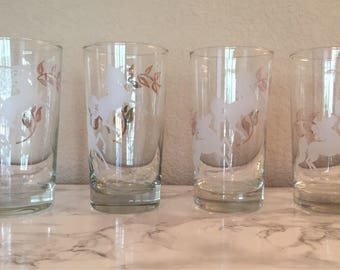 Set of four Vintage whimsical Libbey white unicorn glasses