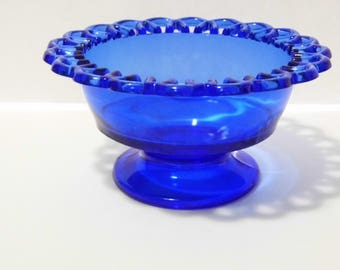 Vintage 1930s Blue Glass Footed Bowl with Lace Weave Edge - Priority Shipping! Lovely candy dish - Glass Compote Dish
