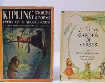 Pick a Classic Childrens Book - A Child's Garden of Verses Robert Louis Stevenson - Kipling Stories & Poems Every Child Should Know