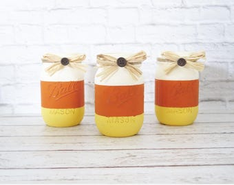 Candycorn mason jars-fall mason jars-fall decor-rustic fall decor-rustic home decor-farmhouse decor-halloween decor-rustic halloween decor