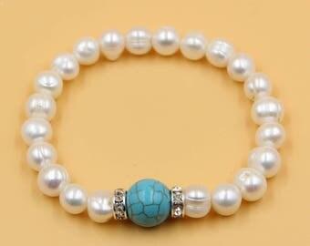 Pearl turquoise bracelet, white pearl bracelet, turquoise bracelet, freshwater pearl jewelry, gift for her, mother daughter bracelet