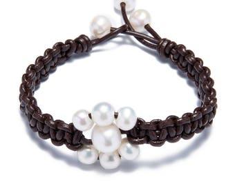 Hand made friendship bracelet - pearl leather woven bracelets - white pearl bracelet - bridesmaid bracelet - pearl flower bracelet - girls