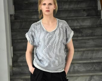 Short sleeve blouse / Unique women tshirt / Perforated Women Blouse / Unique blouse for her / Gray blouse / Perforated Women Top