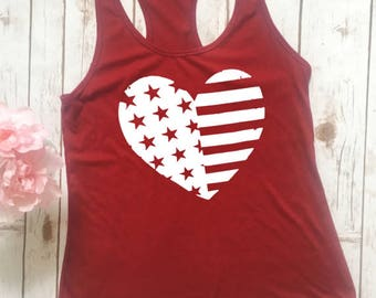 4th Of July Shirt Women, 4th of July Tank Top, 4th of July, July 4th tank, July 4th tee, 4th of July Shirt, American flag heart tank