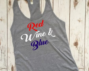 4th Of July Shirt Women, 4th of July Tank Top, 4th of July, July 4th tank, July 4th tee, 4th of July Shirt, red wine and blue tank, America