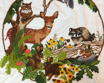 """Sunset Stitchery """"Babes in the wood"""" Crewel 16x16"""
