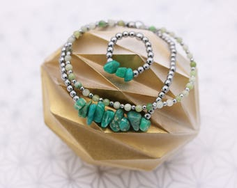 Amazonite and Jade ring and bracelet set