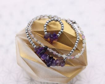 Bracelets and ring set in amethyst and Fluorite