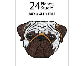 Pug Dog Iron on Patch by 24PlanetsStudio