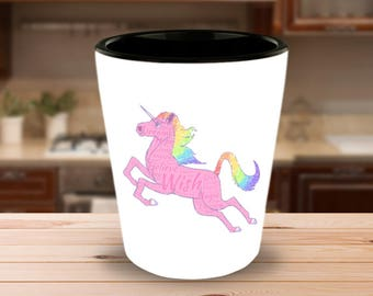 MAGICAL MYTHICAL UNICORN Cool Ceramic Shot Glass Makes a Perfect Gift for the Happy Unicorn Lover Believer in Magic in your life!!