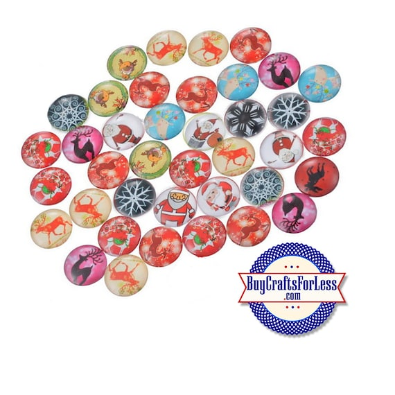 CHRiSTMAS CABOCHONs, 12mm, 32 ASSORTed Designs +FREE Shipping & Discounts