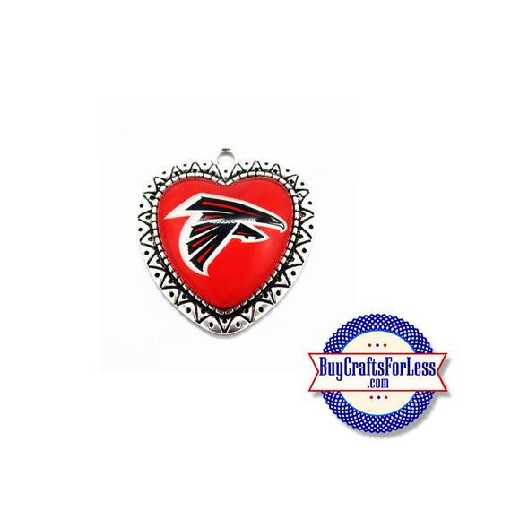 "ATLANTA Football HEART PENDaNT, 1 1/2"" - Super CUTE!  +FReE SHiPPiNG & Discounts*"