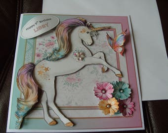 Handmade Personalised Unicorn Birthday Card