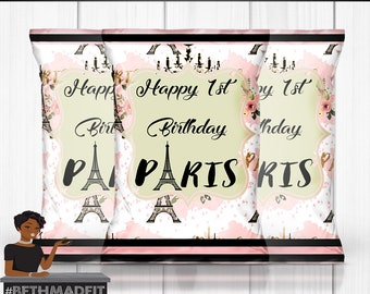 Paris Birthday Party, Chip Bag, Paris Baby Shower, Sweet 16, Paris, Digital or Printed and Shipped