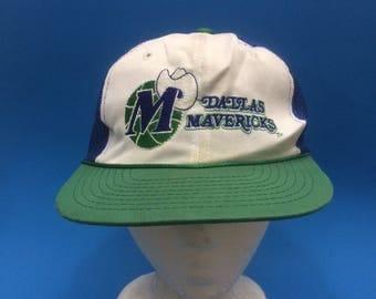 Vintage Dallas Mavericks Trucker SnapBack Hat 1980s adjustable