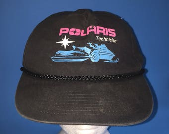Vintage Polaris technician trucker snapback hat 1980s 1990s