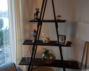 Rustic Handmade Wooden Tiered Ladder Shelf
