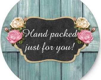 "24 PCS ""Hand packed just for you"" sticker, Seals, Scrapbook Supplies, Stationary, Paper, Paper Stickers, Stickers, Paper Supplies"