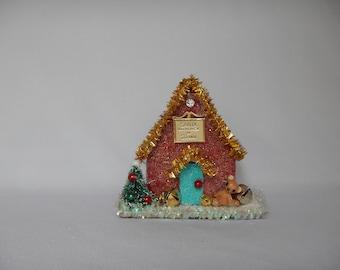 Cute Winter Whimsical Christmas Cardboard Glitter Holiday Bear House